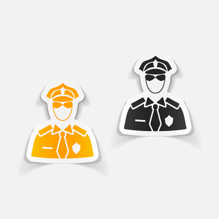 realistic design element. police officer Illustration