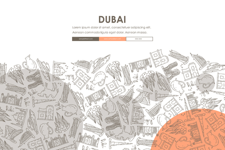 Dubai Doodle Website Template Design 向量圖像