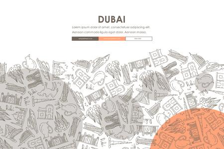 Dubai Doodle Website Template Design Illustration