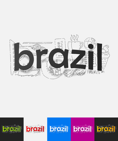 brazil paper sticker with hand drawn elements