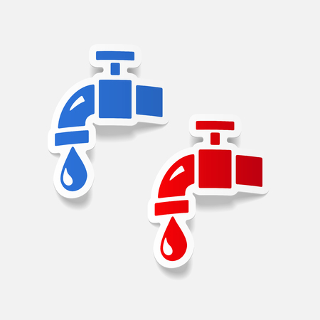 ecological adaptation: realistic design element: water tap Illustration