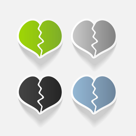 Realistic design element: broken heart