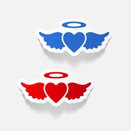 Realistic design element: heart angel Çizim