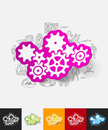 cogwheel paper sticker with hand drawn elements