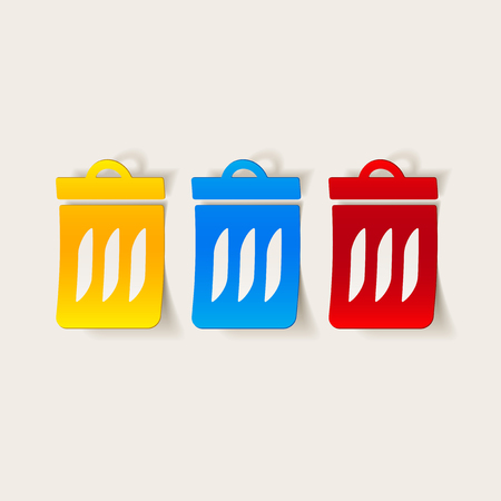Realistic trash can design element.