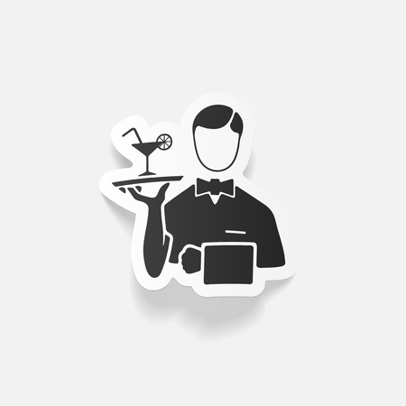 Realistic design element: waiter Illustration