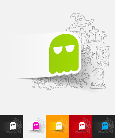 ghost paper sticker with hand drawn elements
