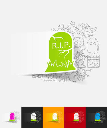 tombstone paper sticker with hand drawn elements