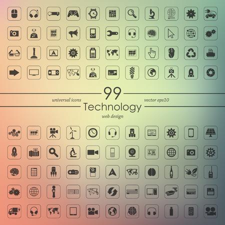 Set of technology icons Illustration