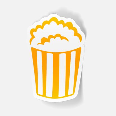 A realistic design element: popcorn. Illustration