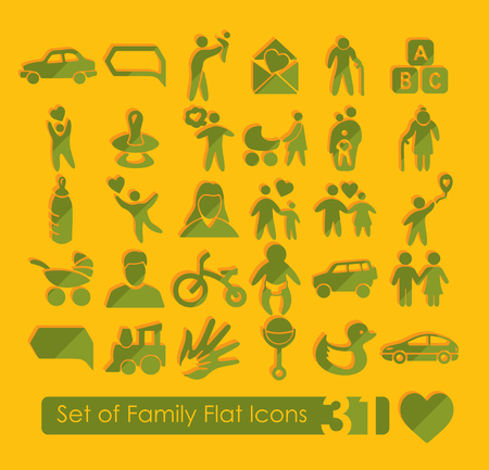 socialization: Set of family icons
