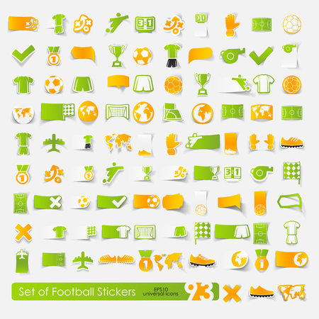Set of football stickers, vector illustration.