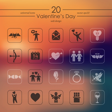 Set of Valentines Day icons. 向量圖像