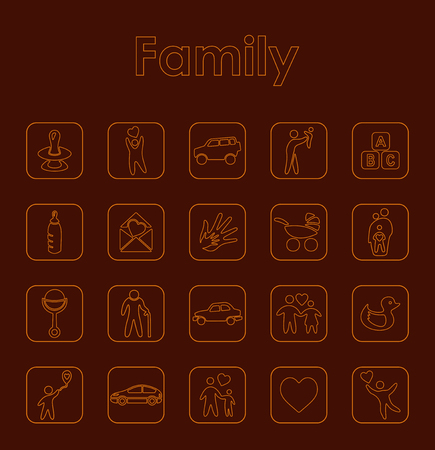 Set of family simple icons.