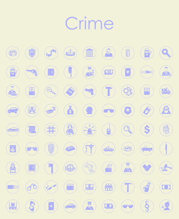 justice scale: Set of crime simple icons