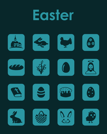 Set easter simple icons.