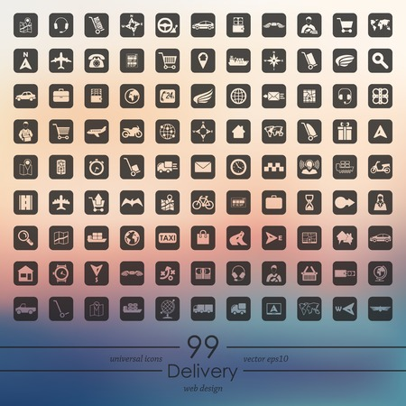 Set of delivery icons . Illustration