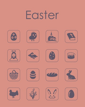 Set of easter simple icons. Illustration