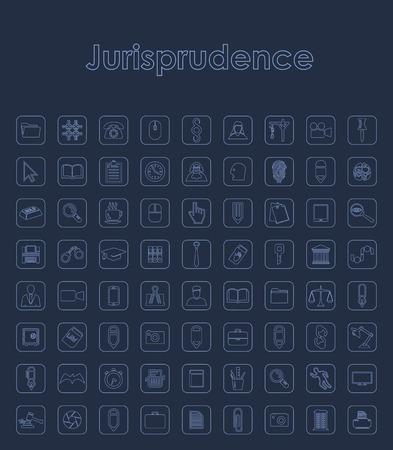 Set of jurisprudence simple icons. Illustration