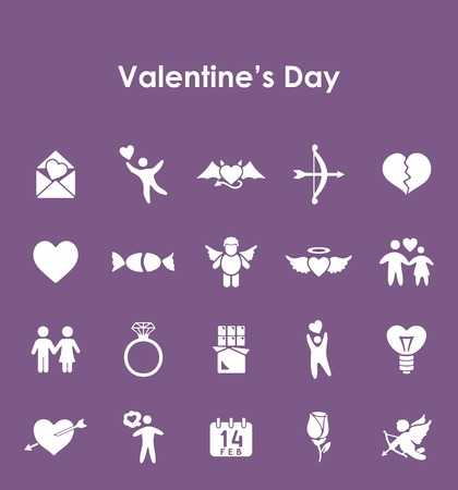 Set of Valentines Day simple icons.