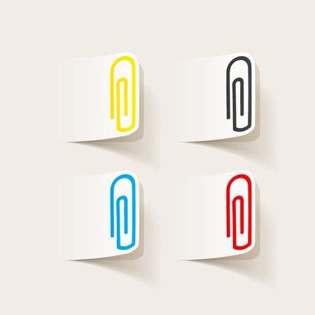 realistic design element: paper clip Çizim