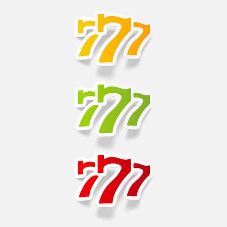 pastime: realistic design element: three seven Illustration