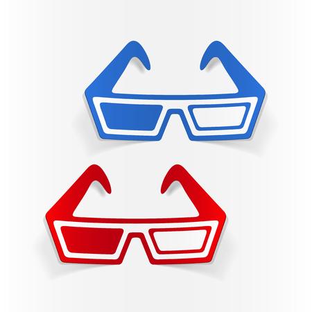 A realistic design element: 3d glasses. Stock Vector - 80114148