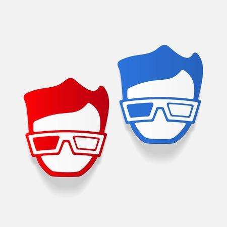 A realistic design element: 3d glasses. Stock Vector - 80114198