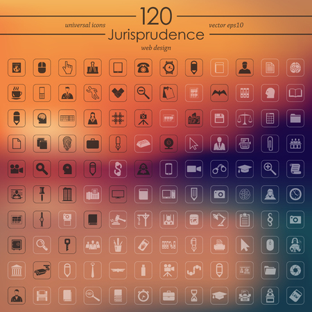 jail: Set of jurisprudence icons Illustration