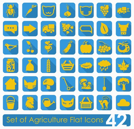 Set of agriculture icons Çizim