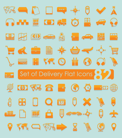 Set van bezorgingspictogrammen Stock Illustratie