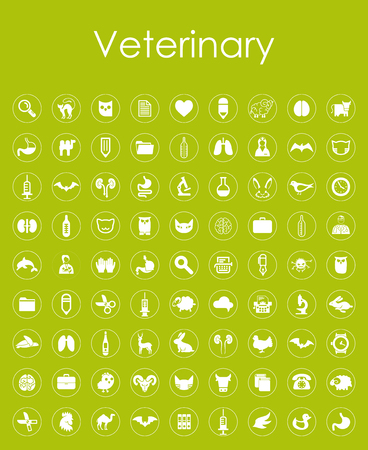 Set of veterinary simple icons Ilustrace