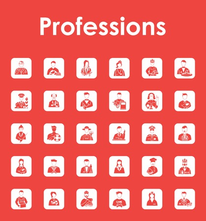 Set of professions simple icons 向量圖像