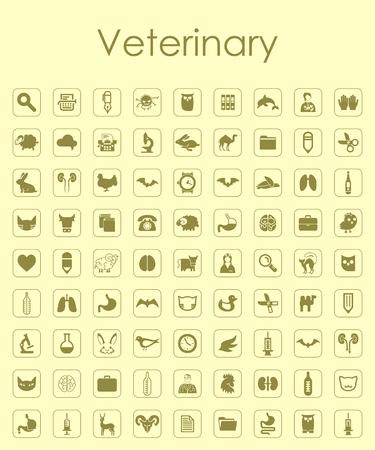 Set of veterinary simple icons Illustration