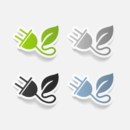 realistic design element: eco plug leaf Ilustracja