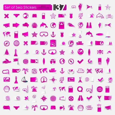 Set of sea stickers Ilustração