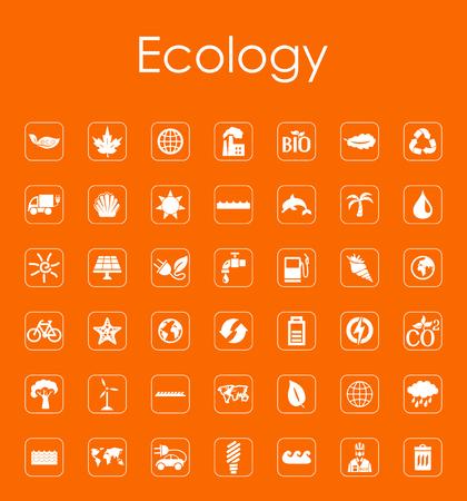 Set van ecologie eenvoudige pictogrammen Stock Illustratie