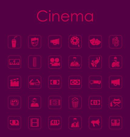 film industry: Set of cinema simple icons Illustration