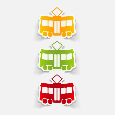 Realistische Gestaltungselement: Straßenbahn Standard-Bild - 83677985