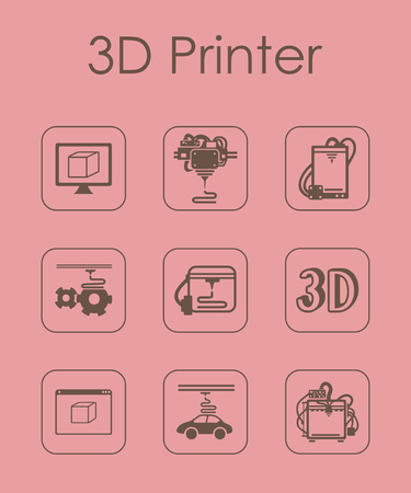 Set of three d printer simple icons