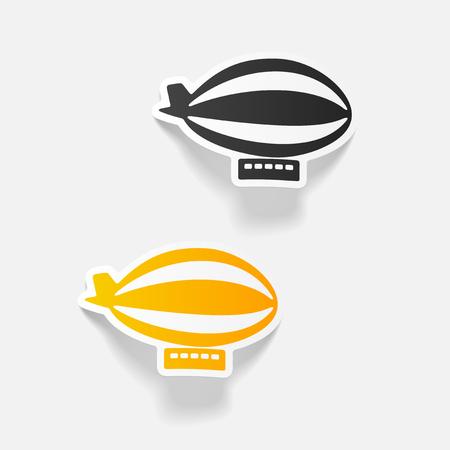realistic design element: airship Çizim