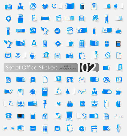 Set of office stickers, vector illustration.