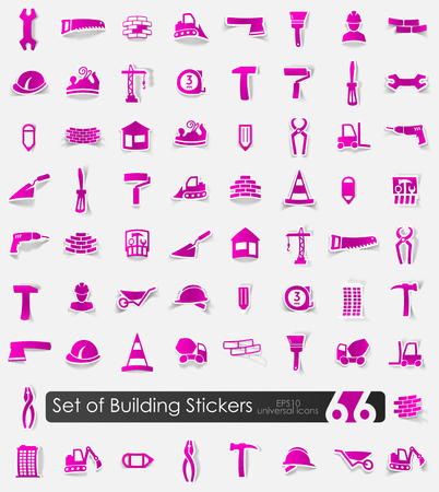 Set of building stickers Stock Vector - 84287341