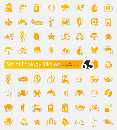 Set of ecology stickers 向量圖像