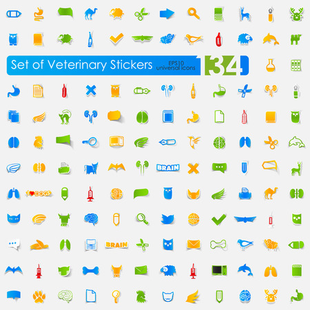 Set of veterinary stickers