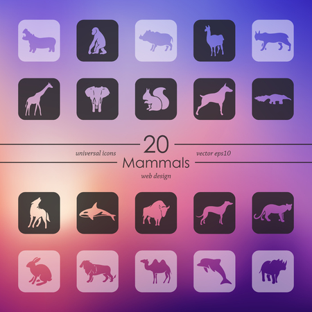 Set of mammals icons Stock Vector - 84290277