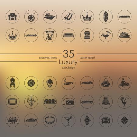 Set of luxury icons Stock Vector - 84290282