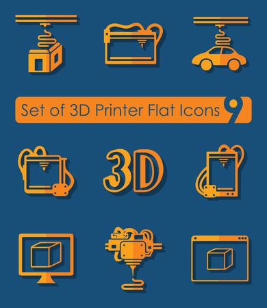Set of three d printer icons