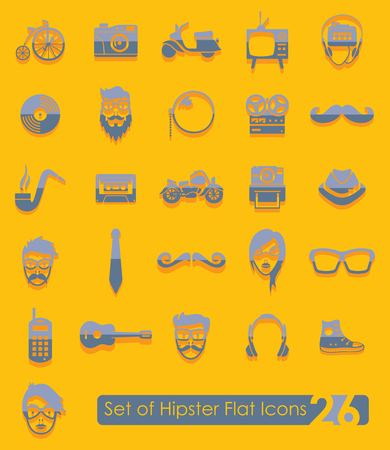 criticism: Set of hipster icons Illustration