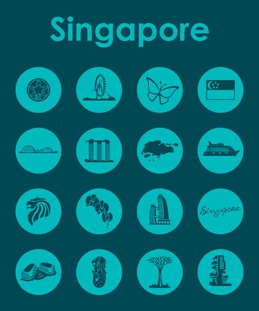 Set di Singapore semplici icone Archivio Fotografico - 84283756
